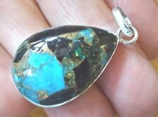 Superb Sterling Silver and Copper Filled Blue Calcite Pendant