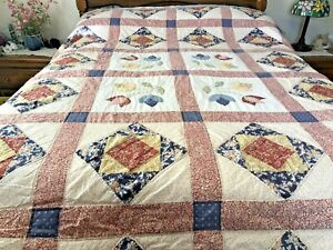 """Patchwork-Appliqued Quilt All Hand Quilted Queen/King Sz. 92"""" x 92"""""""