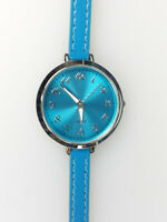 Accutime Ladies Watch Silver Tone Large Face Aqua Turquoise Thin Band Wavy Hand