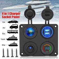 4 in 1 Dual Usb Car Cigarette Charger Lighter Socket Splitter 2 Port Adapter Led