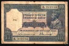 INDIA BRITISH 10 RUPEES P7 A 1917 KING GEORGE V DENNING SIGN MONEY BANK NOTE