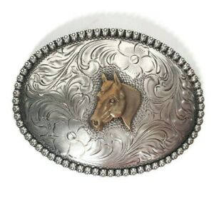 Hernandez Silver Products Sterling Western Belt Buckle with Horse Head Emblem