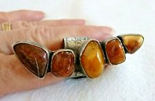 Artisan Amber Ring  2.5 inches long 20.5 Grams Wrap-Style Size Adjustable