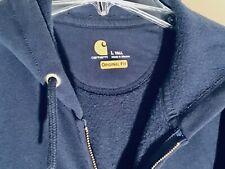 Carhartt K122 Medium Weight Full Zip Hooded Sweatshirt Navy Blue Mens Large Tall