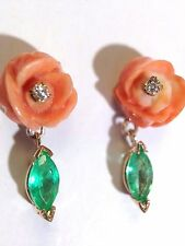 Sweet! Natural Coral and Diamond Rose and Colombian Emerald 14K Gold Earrings