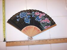 9 inch Vintage Ladies Paper and Wood Folding Hand Fan Flowers On Black Backgroun