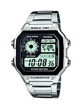Casio Quartz Grey Men's Watch World Time 5-daily Alarms Stopwatch 100m