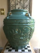 Xtra Large Tuscan Asian Style Ceramic Vase Urn turquoise blue green handles