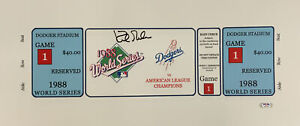 DODGERS KIRK GIBSON SIGNED 7X20 88 WORLD SERIES GAME 1 TICKET CANVAS PSA AI33556