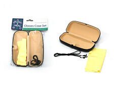 eye glasses case set, includes case cord x2 cleaning cloth