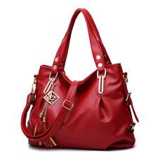 Rot Damen Leder Handtasche Tasche Umhängetasche Modern Shopper Schultertasche