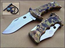 ELK RIDGE CAMO HANDLE LOCKBACK FOLDING KNIFE **RAZOR SHARP BLADE** W/ SHEATH