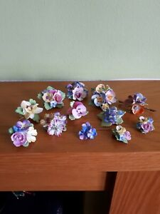 11 Vintage China Flower Brooches and pair of clip Earrings