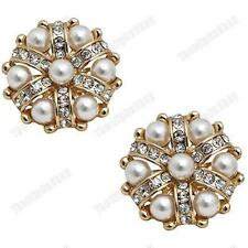 CLIP ON 3cm big PEARL&CRYSTAL EARRINGS glass rhinestone GOLD FASHION large RETRO