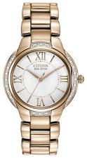 Women's Citizen Eco-Drive Ciena Rose Gold Tone Diamond Watch EM0093-59A