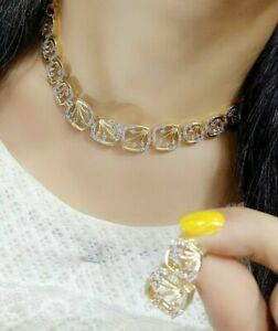 Bollywood Style Indian CZ AD Wedding Gold Delicate Jewelry Necklace Earring Set