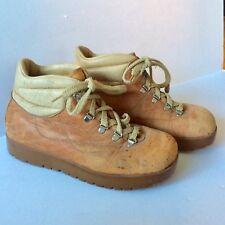 Vintage 1970's Men's  GARMONT Leather Hiking / Work Boots Crepe Rubber Soles 7.5