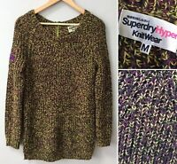 Superdry Womens Chunky Knit Jumper Sweater Long Cosy Multicolour 12-14 MEDIUM