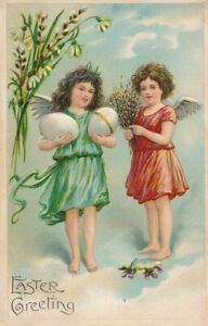 EASTER - Two Angels, Big Eggs and Flowers Art Nouveau Postcard