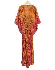 WOMENS LADIES KAFTAN LONG DRESS VINTAGE SILK SARI DRESS YELLOW RED SOFT KIMONO