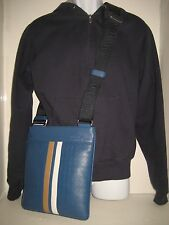 NEW Men Salvatore Ferragamo Logo Blue Leather Messenger Crossbody Shoulder Bag