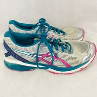 ASICS Womens GT-1000 5 Running Shoes Gray Blue Pink T6A8N Low Top Lace Up 10 M