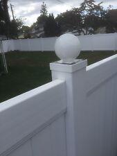 "LED Round Solar Fence Cap Post Light For 5x5 PVC / Vinyl Posts - White 5"" X 5"""
