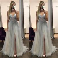 Womens Deep V-Neck Chiffon Sequins Prom Gown Slit Wedding Cocktail Maxi Dresses