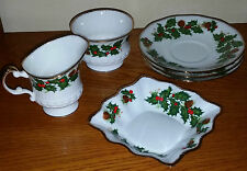QUEEN'S ROSINA CHINA CO. YULETIDE 6 ASSORTED PIECES