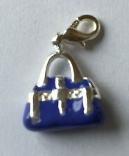 LOVELY PURPLE & SILVER  HOLDALL BAG CLIP-ON CHARM  - 3D -  SILVER PLATE