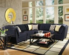 Modern 5Pc Sectional Sofa Tufted Blue Corner Armless Chair Living Room Furniture
