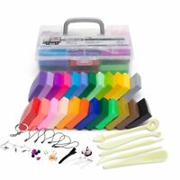 24 Colors DIY Craft Malleable Fimo Polymer Modelling Clay Block Set + Tools Kit