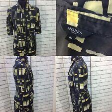 Hobbs Midi Black Green Geometric Silk Shirt Dress Classic Fit Size UK 10