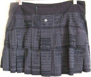 LULULEMON Black PACE RIVAL Pleated/Tiered Tennis Skirt/Skort/Shorts 8 Tall