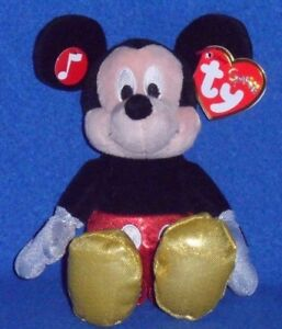 TY DISNEY SPARKLE MICKEY MOUSE BEANIE BABY with SOUND - MINT with MINT TAG