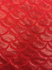 Red 4 Way Spandex Lycra Mermaid big Fish Scale Hologram Fabric Sold By The Yard