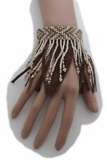 New Women Brown Faux Suede Leather Bracelet Bohemian Fashion Jewelry Beige Beads