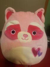 "New ListingSquishmallows Raccoon Mel 10"" Valentine Pink Super Squishy Stuffed Animal"