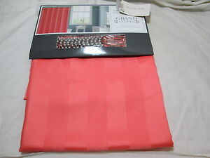 New Grand Living Shower Curtain with 12 Beaded Hooks ~ Dark Coral Dobby Stripe