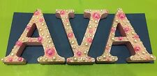 DECORATED WOODEN 3 LETTERS NAME 8 Cm Baby Shower Birth Baby Gift Baby Nursery