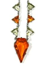Gorgeous Art Deco Czech Geometric crystal and Rhodium Necklace