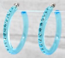 """1.75"""" SLIM CLEAR BLUE HOOP EARRINGS SINGLE ROW BLUE RHINESTONES *SKANKY HOOPS*"""