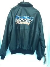 "Vintage black leather ""Nickelson"" men's bomber jacket says ""Permatex Racing"" on"