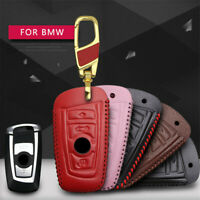 Leather Car Key Case Cover Clasp Fob For BMW 1 2 3 4 5 6 7 Series X3 X4 Key Ring