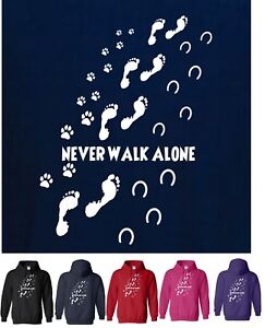 NEVER WALK ALONE DOG & HORSE HOODY, Paw & Hoof Prints, Dog & Pony Lovers, S-2XL