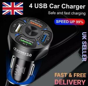 12-24V Fast 7A QC3.0 4 USB Port Car Charger Cigarette Lighter Socket Adapter