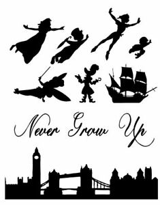 Peter Pan Wendy Tink London Skyline Silhouette Decor Plus Icing Sheet