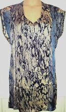 FIRETRAP SILKY TANGO SUNSET GREY MULTI TUNIC TOP / SHORT DRESS L / 12-14
