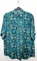 "Men's Vintage 100% Silk Hawaii Holiday Shirt (42"" Chest) Green Palm Tree Beach"
