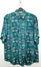 """Men's Vintage 100% Silk Hawaii Holiday Shirt (42"""" Chest) Relaxed Fit Green"""
